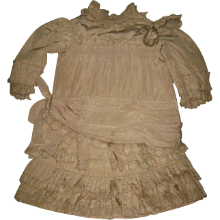 Antique Child Doll DRESS.silk.  long  22,5 inch
