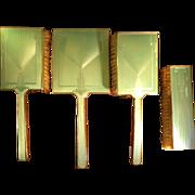 OK1 - Exceptional Art Deco Luminescent Light Green British Sterling SILVER Guilloche Enamel for Vanity Dresser