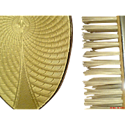 - HOLIDAY SPECIAL - Sublime British Art Deco Sand CHROME Guilloche Enamel 3-piece Boxed Set for Boudoir Vanity Dresser