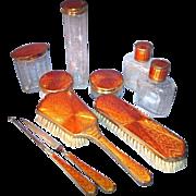 NEW 2 - Sublime German Art Deco Burnt Orange COPPER Guilloche Enamel 10-pc Vanity Set