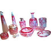 """GULLIVER SALE 1 - Exceptional VAL-SAINT-LAMBERT 17-pc Cranberry Cameo Vanity Set - """"Guirlande rose / Pink Garland"""" - Now more irresistible than ever!"""