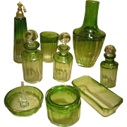 GULLIVER SALE 1 - Elegant BACCARAT / MOSER 14pc GREEN Crystal Boudoir Set - Almost mint collectibles