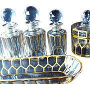 OK1 - Gilt Hand Sculpted BACCARAT Faceted Crystal Vanity 18-pc Set - Superb Toiletries
