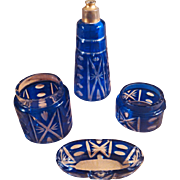 NEW 2 - Fabulous Bristol Blue VAL-SAINT-LAMBERT 19th Century Vanity Dressing Table Set - Thirteen Pieces (13)