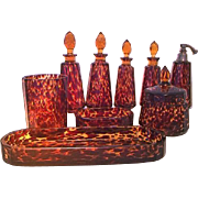 OK1 - Highly Collectible Art Glass in Leopard Print - Circa 1920 Wonderful Vintage Set of Crystal Boudoir Toiletries with Cologne Fountain