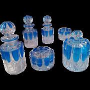 5 - IRRESISTIBLE Val-Saint-Lambert Top Belgian 19th Century Art Glass - TWENTY-ONE pieces in Blue Overlay