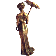 GULLIVER SALE 2 - F. BERMANN, Austria - Circa 1900s Listed Cold Painted Gilt Bronze Lady with Umbrella - Hallmarked & Superb Patina - FBW