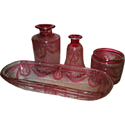 OK1 - Wonderful Baccarat Art Glass Antiques -- Circa 1890-1900 Ruby Cranberry Victorian Cameo Dresser Set