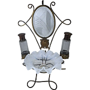 OK1 - The Ultimate in Pampering – Phenomenal French Opaline Vanity Items on Ornate Brass Stand!