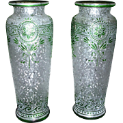 Outstanding French Cristalleries de SAINT-LOUIS Cameo Acid-Etched Green Crystal Vases - Antique Art Glass at its best! (D5)