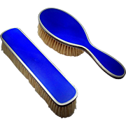 IRRESISTIBLE 2017 - 1 - Sublime Royal Blue Sterling SILVER Guilloche Enamel Vanity Set - 5 pieces - from France