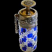 BOXING DAYS ARE HERE --- Antique BACCARAT COBALT Perfume Bottle Piston Atomizer - Art Glass Brio!