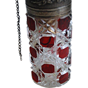 Antique BACCARAT Ruby Red Perfume Bottle Piston Atomizer - Art Glass Brio!