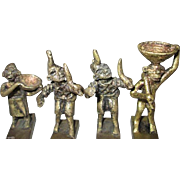 - HOLIDAY SPECIAL - Eight great KNIFE RESTS - Circa 1800s African Tribal Art - Antique Akan Ashanti Polychrome Bronze Musician Figurines From Ghana