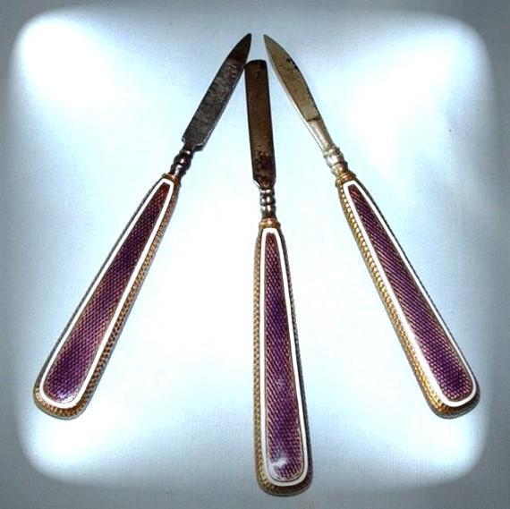 Exquisite Antique STERLING Guilloche Enamel Manicure Tools ...