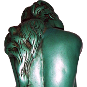 "Hallmarked Chalkware Figurine by Universal Statuary - Retro 8"" Sitting Nude in Green/Blue Glaze with definite Wow Factor!"