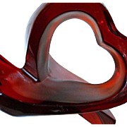 Art Glass by Lalique, France - Sublime Crystal Sculpture depicting a HEART Ribbon - Red, Vibrant and Rare (C3)