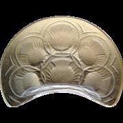 "OK1 - Mid-Century Art Glass by Lalique, France - Set of four Acid-etched ""Chardons"" Thistle Crescent Plates - Rare!"