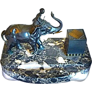 1900 Orientalist Art - Magnificent Figural Desk top INKWELL 1 - Young Nubian Riding Elephant - Scarce