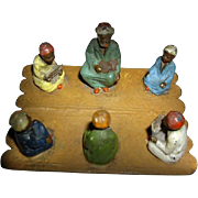 OK1 - Orientalist Art - Georg Heyde Hollowcast Metal Figurines - Rare 1900s Cold Painted Polychrome GROUP Scene - Teacher and Students