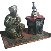 GULLIVER SALE 3 - Orientalist Art - Figurative INKWELL - Antique Cold Painted Bedouin Musician on Rug - Extremely Scarce Kamancheh Player
