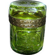 1900s MOSER KARLSBAD Luminescent Lime Green Ormolu Lidded Casket from the Czech Republic - More than rare!