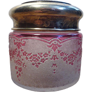 ON SALE - Val-Saint-Lambert Cameo Pink Garland - One Powder Jar with Sterling Silver Lid (C3)