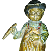 Antique Bobblehead - The Nodding & Standing Young Cigar Smoker - 1900 Polychrome Cold-painted Figural Sculpture