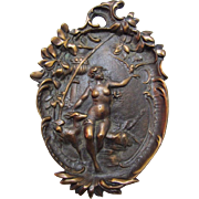 WOW factor indeed!  Three Voluptuous Maidens on Three Bronze / Metal Calling Card,Trinket, Jewelry or Cigar Trays