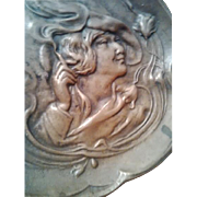 "GULLIVER SALE 1 - Three 19th Century Calling Card Trays depicting ""Emancipated"" Young Women Smoking - Great for collectors"
