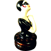 Superb French Art Deco Pierrette / Columbine Half Doll / Nigthtlight or Boudoir Table Lamp #2 on Wooden Base (D4)