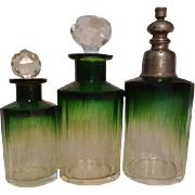 6-pc Emerald Green Vanity Set - Luxury Baccarat / Moser Karlsbad Rare & lovely Hand cut to clear Faceted Crystal Items