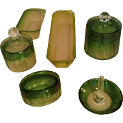 9-pc Emerald Green Vanity Set - Luxury Baccarat / Moser Karlsbad Rare & lovely Hand cut to clear Faceted Crystal Items