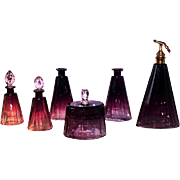 Superb 10-pc Purple Amethyst Vanity Set - 1920's luxury Baccarat / Moser Karlsbad Rare & lovely Hand cut to clear Faceted Crystal Items