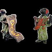 NEW 1 - 1900's Orientalist Art - Rarest Cold painted Polychrome Moorish Figurines: Iritungu Musician & Carpet Seller - Wow Factor - Collectors welcome!