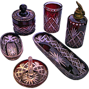 - HOLIDAY SPECIAL - Superbly Crafted Dark Ruby Overlay to Clear Hand Cut Bohemian Vanity Set - 8 pieces