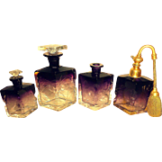 Exceptional Amethyst QUARTET - MOSER Karlsbad 8-pc Intaglio Perfume Set  for Vanity & Dressing Table