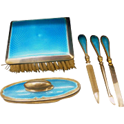 Superb Grooming Nail Care Set - Antique Solid Sterling Silver and Enamel