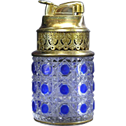 2 - French Art Glass - Extremely Rare  Baccarat / St Louis / Evans collaboration - Vintage Table Top Lighter - Gilt Rimed Blue Overlay Crystal