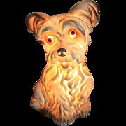 Adorable Vintage Puppy Lamp - 1950s German Porcelain Rauchverzehrer - Air Purifier / Table Night Light