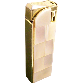 CREST Fire: Vintage Mother of pearl Lighter - Mid-Century Collectible