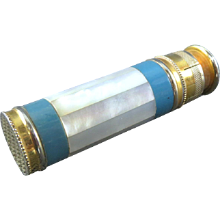Scarce Guilloche Enamel Mother of Pearl Art Deco Perrfume Atomizer - L'Aiglon - France
