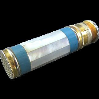 Scarce Enamel & Guilloche Brass Mother of Pearl Art Deco Perrfume Atomizer - L'Aiglon - France