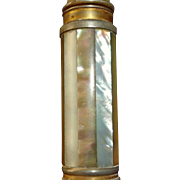 "Art Deco Era - ""Le KID"" Mother of Pearl Pump Action Purse Perfume Atomizer - STRIPES - Marcel Franck, France"