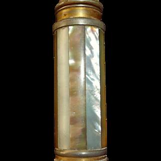 "Art Deco Era - ""Le KID"" Mother of Pearl Pump Action Purse Perfume Atomizer - STRIPES - Marcel Franck, France"