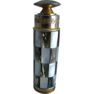 TOP RARITY! Mother of Pearl Checkered Sensation! From France, L'aiglon, Mother of Pearl Piston Pump Purse Sprayer Atomizer