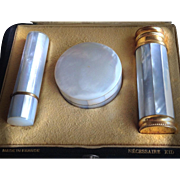 Mother of Pearl Art Deco LE KID Necessaire Combo Set: Perfume, Lipstick & Compact Powder - A MINT must!