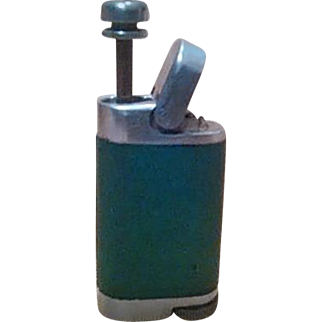 "Vintage ""Perfumette, N.Y.C."" GREEN Leather & Polished Metal Perfume Atomizer - A Great Gift!"