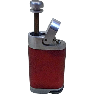 "Vintage ""Perfumette, N.Y.C."" RED Leather & Polished Metal Perfume Atomizer - A Great Gift!"