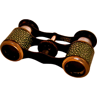 SHAGREEN - Beautiful Vintage Shagreen Opera Glasses from France - So rare!!!